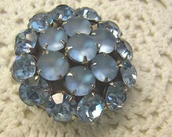 Vintage Blue Rhinestone/Blue Givre Glass Brooch...Riveted Rhodium Back...Wedding Blue Art Glass Brooch