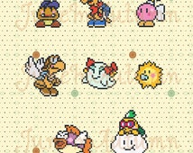 Paper Mario N64 Perler Partners (Goombario, Kooper, Bombette, Parakarry, Lady Bow, Watt, Sushi, Lakilester)