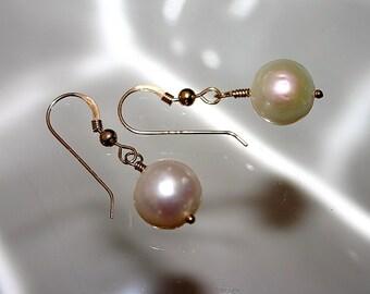 LARGE PEARL EARRINGS...12 mm Cultured Pearls...Real Pearls..