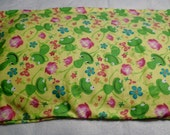 Childrens Frogs and Flowers  Pillow Case Standard Size Pillow Case, Flannel Pillow Case, Travel Pillow  Case, Toddler Pillow Case, Gift,