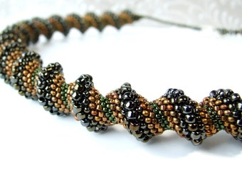 Cellini Spiral Necklace Beaded Rope Necklace Seed Bead Necklace Glass Jewelry Artisan Necklace Sterling Brown Necklace Beadwork Jewelry Boho