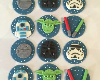 Space Fondant Cupcake Toppers Inspired by Star Wars