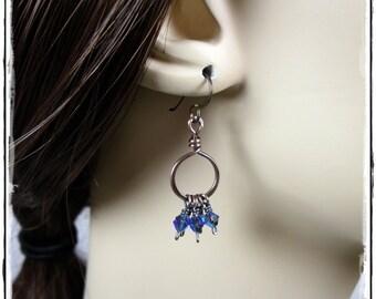 Copper Drop Hoop Crystal Earrings - Sapphire AB2X, Hypoallergenic