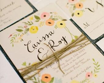 Boho Wedding Invitations, Floral, Vintage, Rustic, Bohemian, Garden Featured on Ruffledblog.com