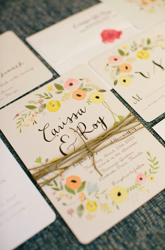 Boho Wedding Invitations Floral Vintage Rustic Bohemian