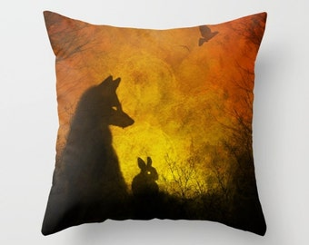 Fox pillow, rabbit pillow, bunny pillow, bohemian throw pillow, boho pillow, hippie pillow, fall pillow, autumn pillow, college dorm pillow