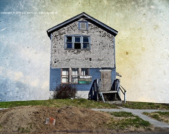1768, Street Photography, Detroit Photography, Abadoned Places, Wall art, Photo Montage, Collage, Blue House