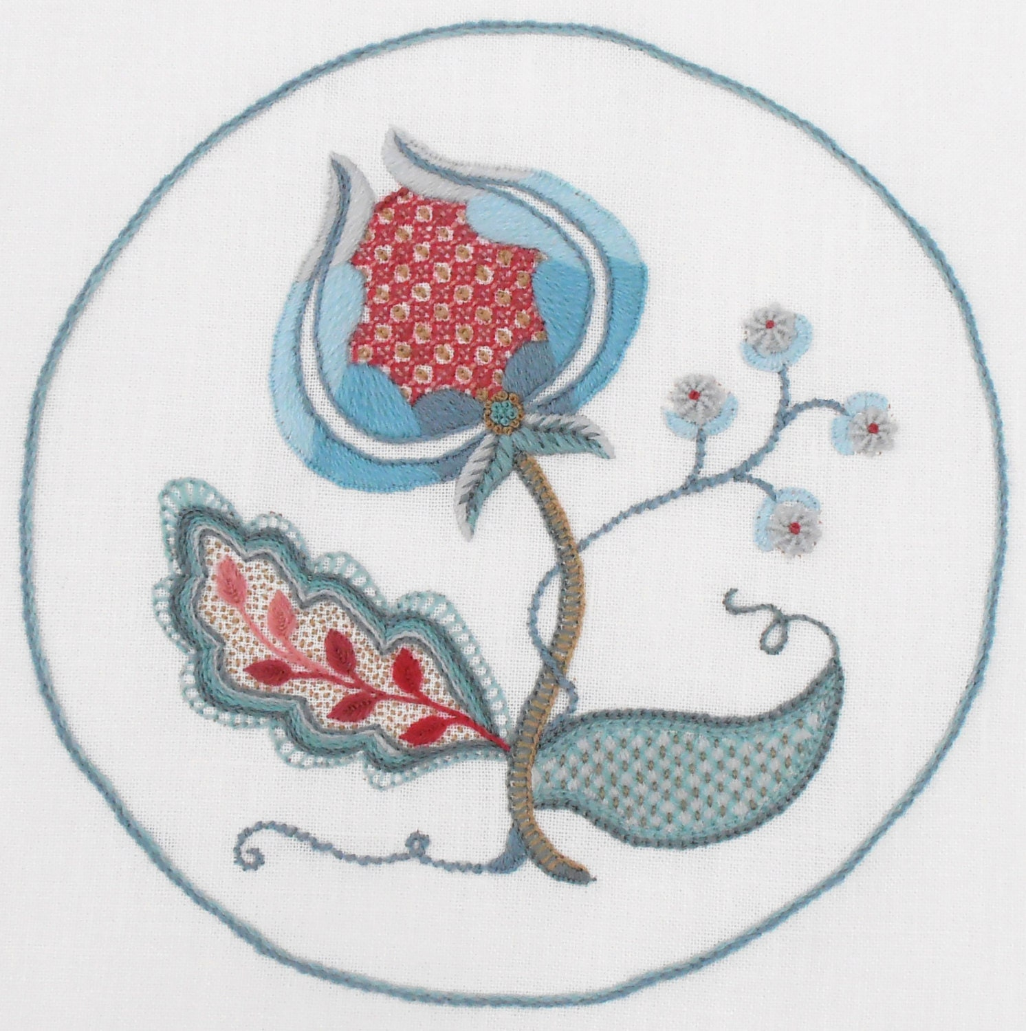 Crewel embroidery kit snow berries from finestitchstudio