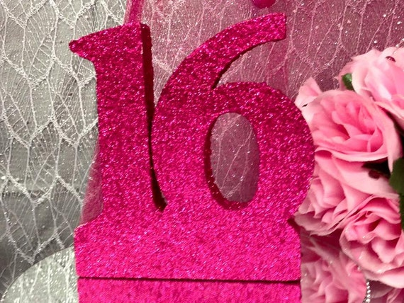 Sweet 16 glitter number cake centerpiece by onlinepartycenter for Glitter numbers for centerpieces