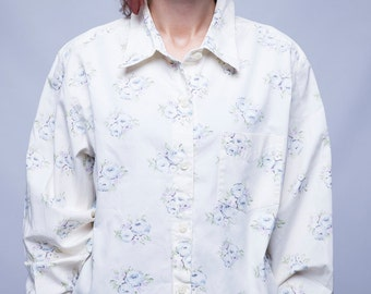 Floral women shirt, spring blouse, white shirt, vintage shirt, L, 40