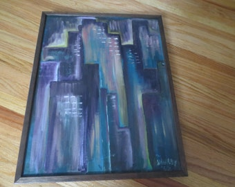 """1962 SIGNED SHIRLEY ORIGINAL Oil-Acrylic Abstract Cityscape Painting On Canvas Board In Dark Wood Frame 18 1/2"""" x 14 1/2"""""""