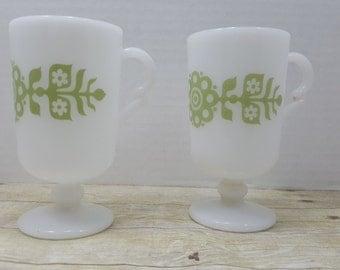 Mid Century Milk Glass Mugs, Set of 2, Mod, Flower power, green flower, Pedestal mugs