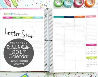 50% OFF 2017 Calendar Ruled and Dated, Printable Planner - INSTANT DOWNLOAD - 2 Page Calendar Spreads, colorful