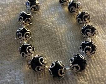 Black and silver beaded bracelet