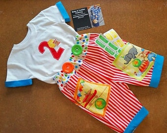 Little boys outfit, boys clothing set, Boys Birthday, Circus birthday, Boys clothing, pants,Circus tshirt, Boys pants/mysweetchickapea
