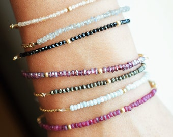 Tiny gemstone bracelet/ Natural gemstone bracelet/ Minimalist jewelry/ 14k gold filled/ Luxury tiny beads