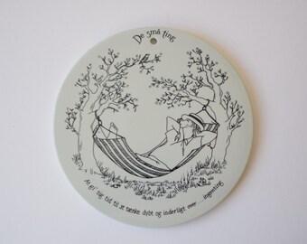 Nymølle Denmark - De Små Ting - wall plate / trivet - Black & White - Danish mid century