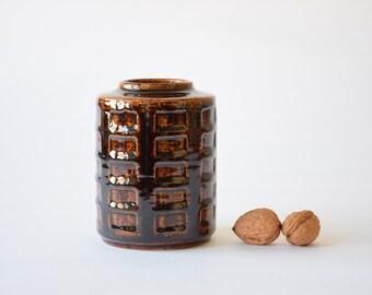 Palshus Denmark - cylindrical vase - brown square decor - APL-S C7 - Danish mid century pottery