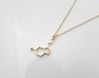 Serotonin Necklace, Science Necklace, UK Seller, Geekery Gift, Happy Molecule Necklace, Chemistry Jewelry, Physics Necklace, Chemistry Gifts