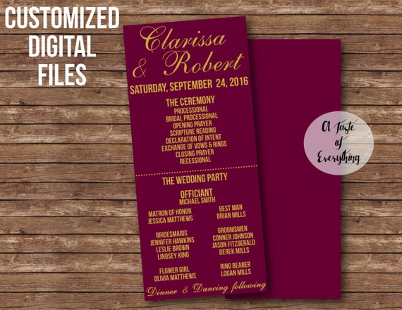 Wedding Ceremony program Bridal party sign signage poster DIY