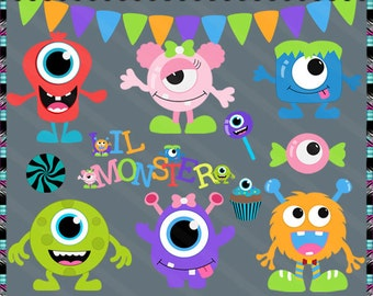 Monster Mash Little Monsters - Instant Download - Commercial Use Digital Clipart Elements Set