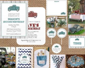 Vintage PICK UP TRUCK Birthday + Baby + Bridal Shower + Wedding + Retirement Invitation // Full Service Printing + Coordinating Items
