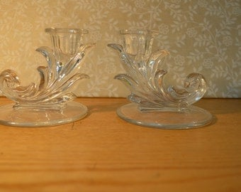 Pair of Vintage Crystal Candle Holders    #159