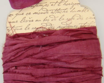 10 yards Hand Dyed Silk Sari Ribbon.... Burgundy