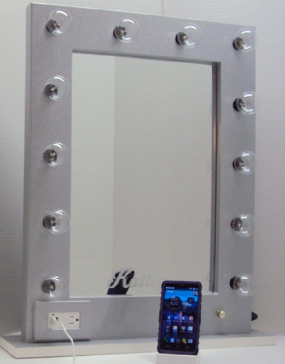 Vanity Mirror With Lights And Outlets : White Diamond Lighted Vanity Mirror With 110v by CheBellaVanita