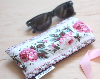 Upcycled floral sunglasses case / cotton sunglass case / perfect gift