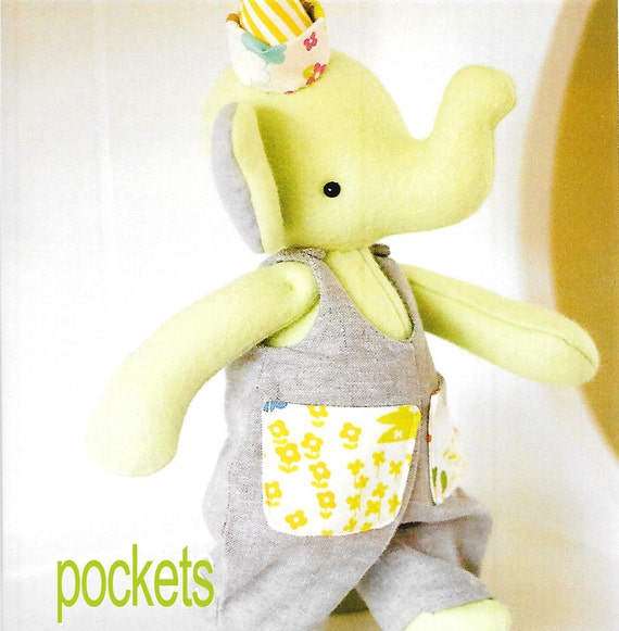 Soft Toys With Pockets : Pattern  pockets elephant stuffed toy fabric soft