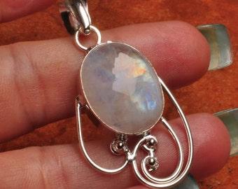 Gorgeous Rainbow Moonstone Silver Pendant Perfect Gift