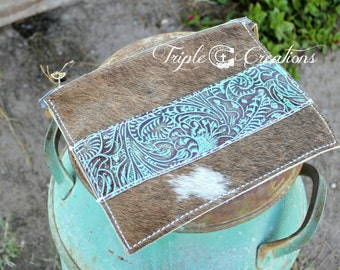 Cowhide and Leather Large Clutch or Cosmetic Bag