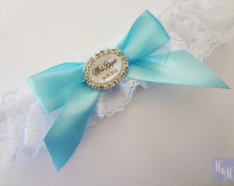 Personalised Lace Bridal Wedding Garter with Rhinestones - Choice of ribbon colour