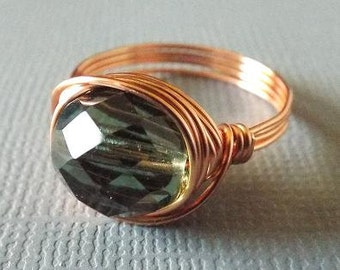 Green Ring, Copper Wire Ring, Irish Ring, Earthy Ring, Wire Wrapped Ring, Spring Jewelry, Gift for Best Friend, Fairy Ring, Gypsy Ring