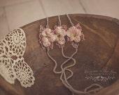 Pansy Blush Newborn Tieback. Photo Prop, Pink Prop, Newborn prop, Photography Prop, Pink Tieback, Baby Prop, Pink headband, Floral Tieback