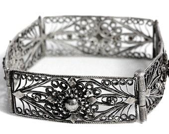 Filigree Silver Vintage Bangle Bracelet