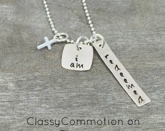 I am Redeemed Hand Stamped Necklace