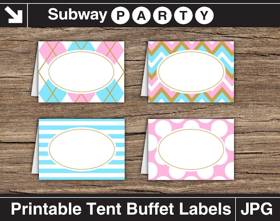 gender reveal baby shower party food labels blue pink and gold