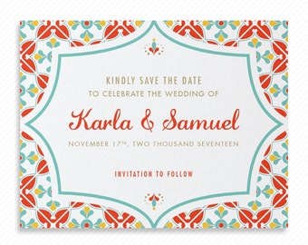 Talavera Mexico Tile Printable Save the Date with Print-at-Home Wedding Invitation Suite and Print-ready Information Card