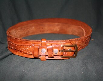 Vintage tooled Leather Steerhide belt
