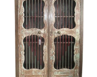 Mogul Iron JALI Armoire Vintage Doors Cupboard British Colonial Bookcase Armoire Cabinet