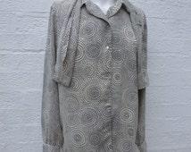 Spring blouse summer clothing black blouse vintage shirt womens blouse gift vintage clothes 80s shirt ladies top womens secretary blouse top