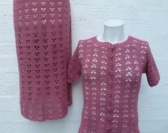 Crochet suit womens festival clothing 70s suit knit vintage handmade clothes womens ladies fashion festival crochet cardigan hippie pink 70s