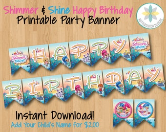 Shimmer and Shine Happy Birthday Banner - Instant Download