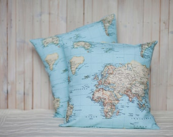 World map cushion cover - map pillow - travel decor - 16 x 16/40 x 40