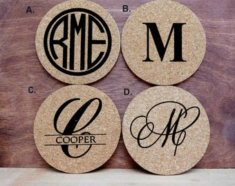 Coasters Custom Monogrammed Cork Coasters Personalized Wedding Favors, Groomsmen Gifts, Bridesmaid Gifts, Housewarming Gifts, Set of 4