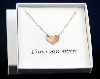 SALE Heart Necklace, Love Necklace, Rose Gold Necklace, Rose Gold Heart, Personalised Heart necklace,  Hammered Necklace, Mothers Necklace