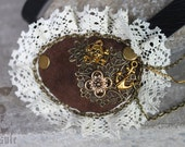 Reserved Listing // Pirate Steampunk Brown Leather Eyepatch with Filigree, Skull and Crossbones, Anchor, Four-leaf Clover, NO LACE