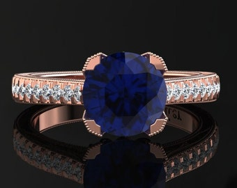 Blue Sapphire Engagement Ring Blue Sapphire Ring 14k or 18k Rose Gold Matching Wedding Band Available SW5BUR
